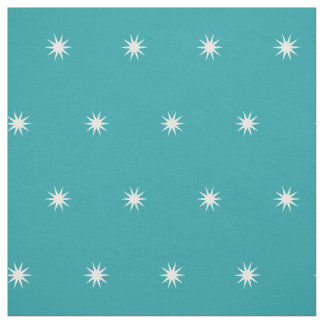 Small White Starbursts on Pure Turquoise Fabric
