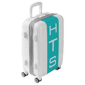 SMALL White + Turquoise Monogram Carry On Luggage