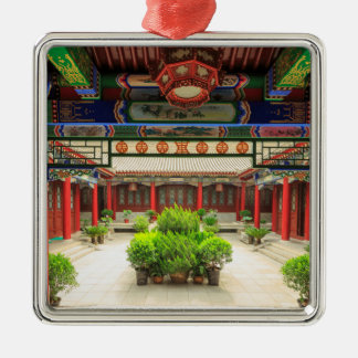 Small Wild Goose Temple, China Silver-Colored Square Decoration
