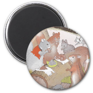 Small Woodland Animals Share a Feast Magnet