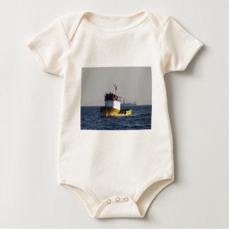 Small Yellow Fishing Boat Baby Bodysuit