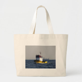 Small Yellow Fishing Boat Canvas Bags