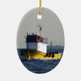 Small Yellow Fishing Boat Ceramic Oval Decoration