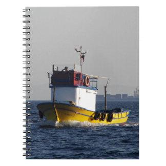 Small Yellow Fishing Boat Spiral Notebooks