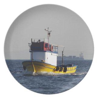 Small Yellow Fishing Boat Plates