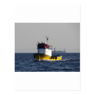 Small Yellow Fishing Boat Postcard