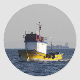 Small Yellow Fishing Boat Round Sticker
