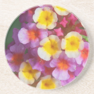 Small Yellow Pink and Purple Tropical Flowers Coaster