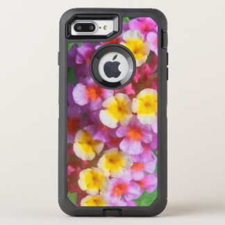 Small Yellow Pink and Purple Tropical Flowers OtterBox Defender iPhone 8 Plus/7 Plus Case