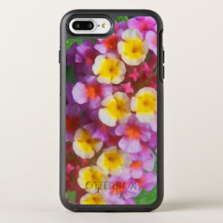 Small Yellow Pink and Purple Tropical Flowers OtterBox Symmetry iPhone 8 Plus/7 Plus Case