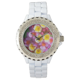Small Yellow Pink and Purple Tropical Flowers Watch