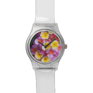 Small Yellow Pink and Purple Tropical Flowers Watches