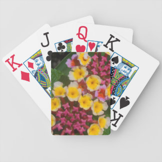 Small Yellow Tropical Flowers With Pink Buds Poker Deck