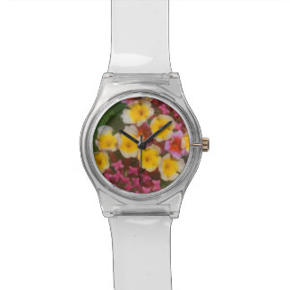 Small Yellow Tropical Flowers With Pink Buds Wristwatch