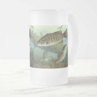 Smallmouth bass frosted glass beer mug