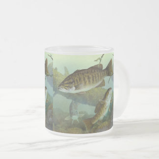 Smallmouth bass frosted glass coffee mug