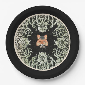 Smart as a Fox Paper Plate in Black 9 Inch Paper Plate