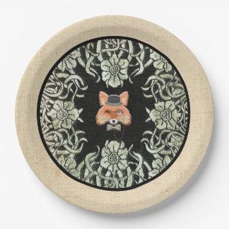 Smart as a Fox Paper Plate in Burlap