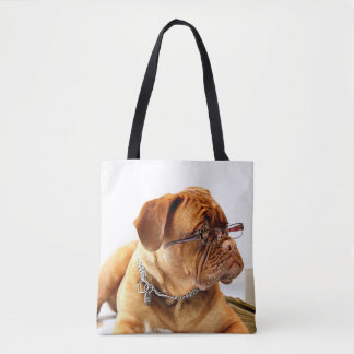 Smart Dog with Reading Glasses on Tote Bag