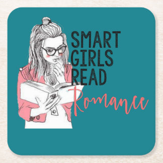 Smart Girls Read Romance Coaster Square Paper Coaster