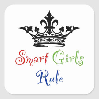 Smart Girls Rule with Crown Square Stickers