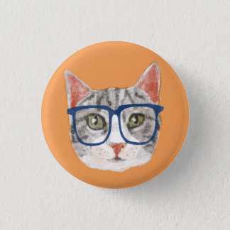 Smart Grey Hipster Tabby Cat Wearing Glasses 3 Cm Round Badge