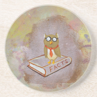 Smart owl art legal facts fun unique art painting coaster