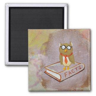 Smart owl art legal facts fun unique art painting square magnet