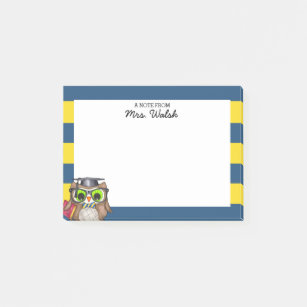 Smart Owl Blue Gold Personalised Teacher Post It Notes