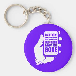 Smart Phone Caution Basic Round Button Key Ring