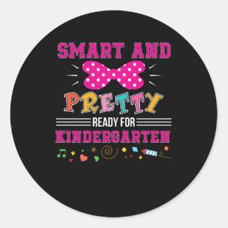 Smart Pretty Ready For Kindergarten Girl Classic Round Sticker