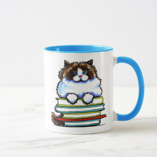 Smart Ragdoll Kitty Books Mug