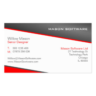 Smart Red and Gray Professional Business Card