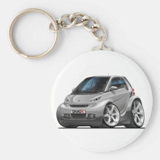 Smart Silver Car Basic Round Button Key Ring