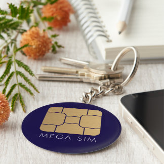 Smart SIM Card mega format in faux gold Basic Round Button Key Ring
