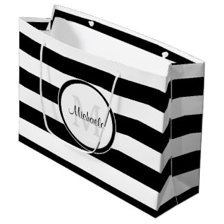 Smart Solid Black and White Stripes With Monogram Large Gift Bag