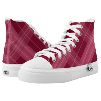 Smart trendy Maroon color checks pattern shoes Printed Shoes