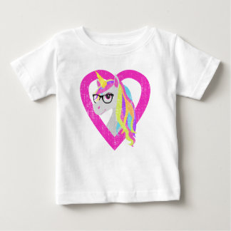 Smart Unicorn with Glasses Retro Distressed Baby T-Shirt