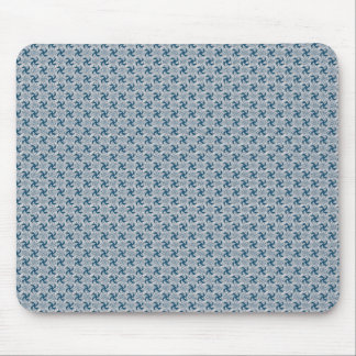 Smart white flower with wavy petals on rough dark mouse pad