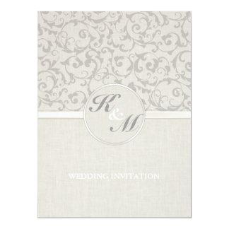 "SmartElegance Grey Wedding Invitation (p) 6.5"" X 8.75"" Invitation Card"