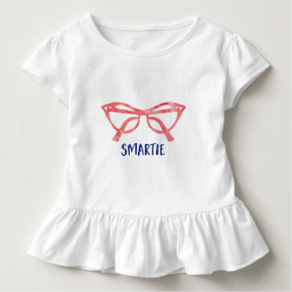 Smartie Glasses Toddler Girls Ruffle T Shirt