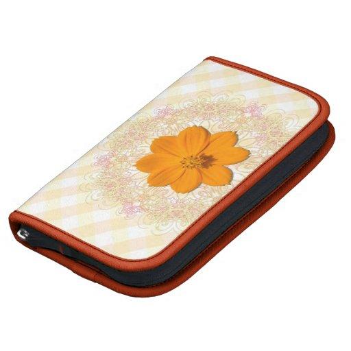 SmartPhone Folio - Orange Cosmos On Lace & Lattice Planners
