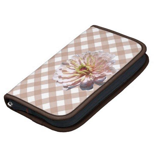 SmartPhone Folio - Palest Pink Zinnia on Lattice Folio Planners