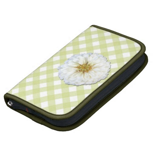 SmartPhone Folio - White Zinnia on Lattice Folio Planners