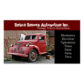 Smashed Front Window Old Truck  Repair Shop Business Card Templates