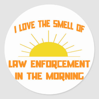 Smell of Law Enforcement in the Morning Round Stickers