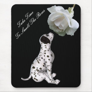 Smell Roses Puppy Rose Inspirational Mousepad