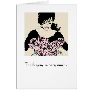 """Smelling Roses"" Illustration Thank You Card"
