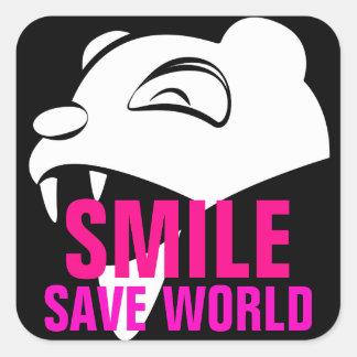 Smile Bear Square Sticker