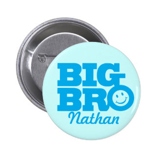 Smile Big Bro named button badge in blue